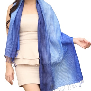 Handcrafted Rayon and Silk 'Royal Blue Transition' Scarf (Thailand)