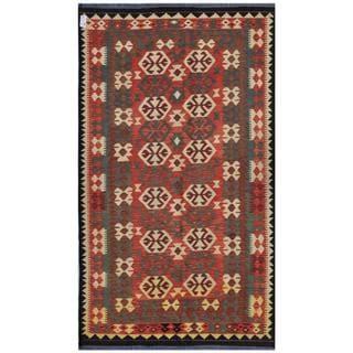 Herat Oriental Afghan Hand-woven Kilim Rose/ Beige Wool Rug (5'6 x 9'3)