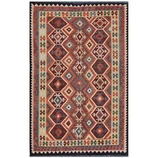 Herat Oriental Afghan Hand-woven Kilim Salmon/ Beige Wool Rug (5'10 x 9'3)