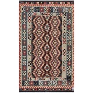 Herat Oriental Afghan Hand-woven Kilim Blue/ Beige Wool Rug (5'10 x 9'6)