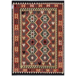 Herat Oriental Afghan Hand-woven Kilim Red/ Beige Wool Rug (5'8 x 7'9)