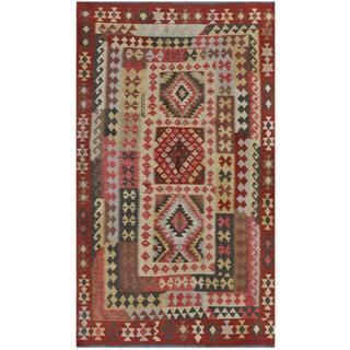 Herat Oriental Afghan Hand-woven Kilim Rust/ Beige Wool Rug (5'1 x 8'11)