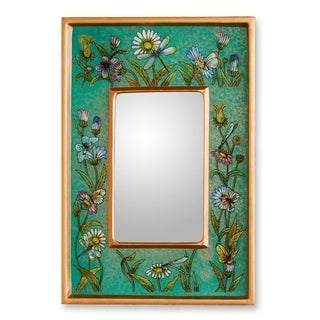 10-inch Handmade Reverse Painted Glass 'Emerald Fields' Mirror (Peru) - Green/Brown
