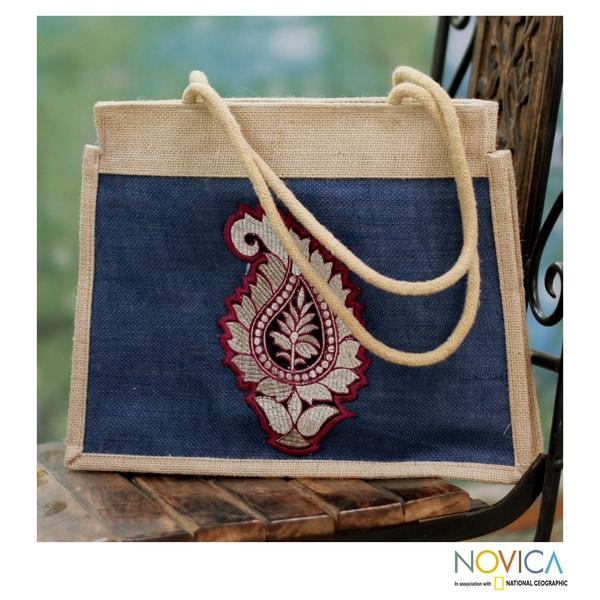 Handcrafted Jute 'Indian Paisley' Medium Tote Bag (India)