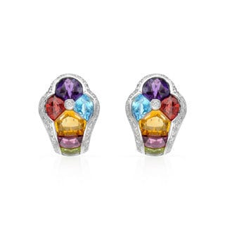 14k White Gold Multi-gemstone Diamond Accent Earrings