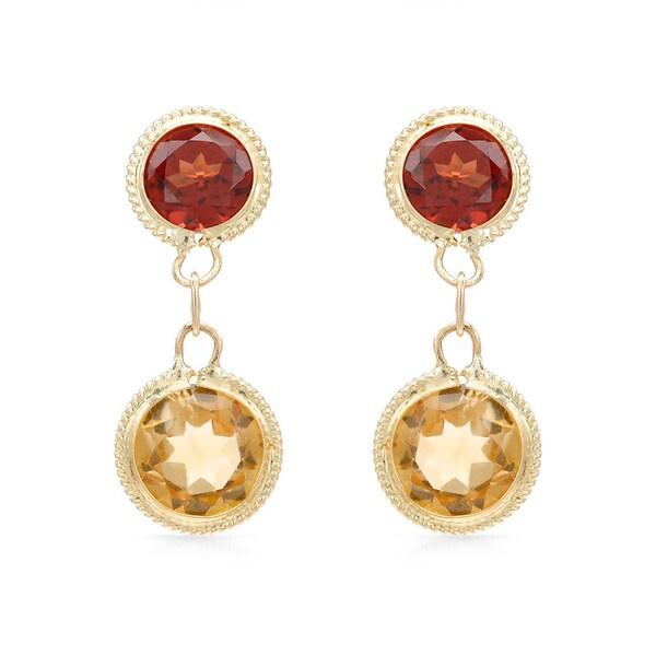 14k Yellow Gold Garnet and Citrine Earrings