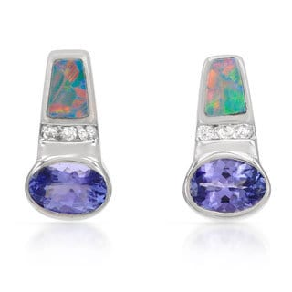 14k White Gold Tanzanite and Opal Earrings