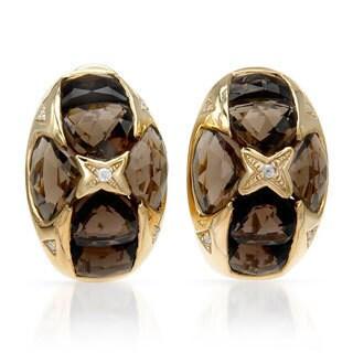 14k Yellow Gold Smokey Quartz and Diamond Accent Earrings