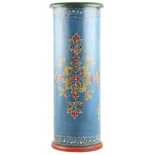Handcrafted Hand-painted Wooden Umbrella Stand (India)