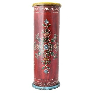 Handcrafted Hand-painted Wooden Umbrella Stand (India) (Option: RED)