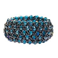 La Preciosa Silvertone Blue Crystal Stretch Bracelet