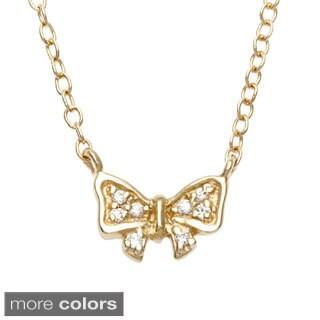 La Preciosa Sterling Silver Cubic Zirconia Small Bow Necklace