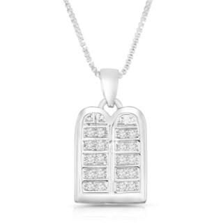 Sterling Silver Cubic Zirconia Two Tablet Pendant Necklace