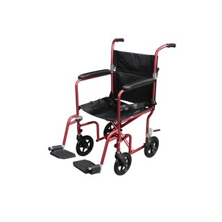 Drive Medical Flyweight Lightweight Transport Red Wheelchair with Removable Wheels