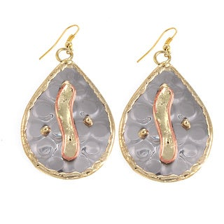 Handcrafted Mixed MetalsStainless Steel Modern Twist Teardrop Earrings (India)