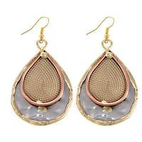Handmade Mixed Metals Stainless Steel Rope Paisley Earrings (India)