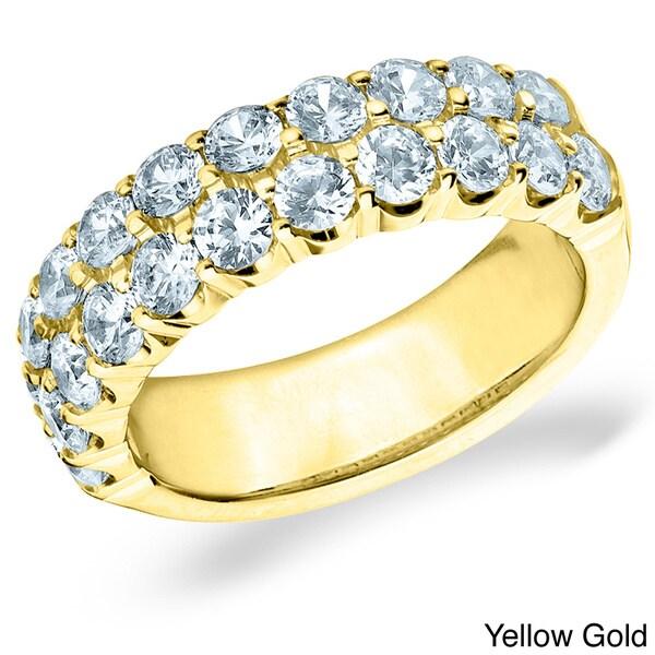 Amore 14k White or Yellow Gold 2ct TDW Double Row Diamond Ring (H-I, I1-I2)
