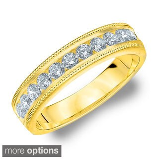 14k White or Yellow Gold 1/2ct TDW Machine-set Milgrain Diamond Wedding Band