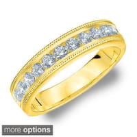 14k White or Yellow Gold 1/2ct TDW Machine-set Milgrain Diamond Wedding Band