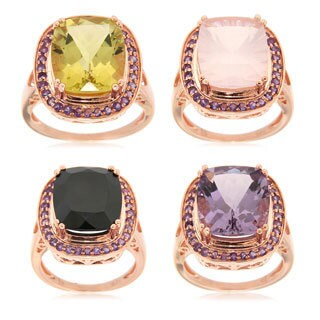 Sterling Silver Rose Gold Gemstone And Amethyst Fashion Ring