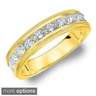 14k White or Yellow Gold 1ct TDW Machine-set Milgrain Diamond Wedding Band