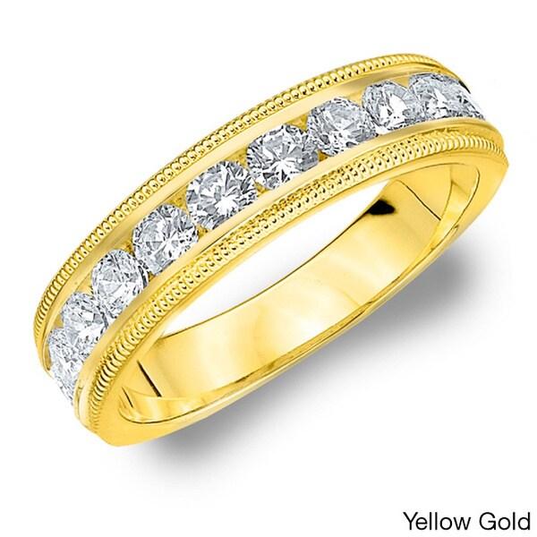 14k White or Yellow Gold 1ct TDW Machine-set Milgrain Diamond Wedding Band