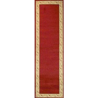 Terrazzo European Floral Border Ombre Gradient Red, Ivory, and Beige Runner Rug (2'3 x 7'3)