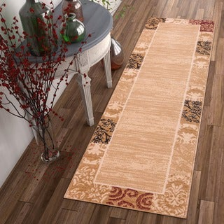 Well Woven Traditional Damask Floral Border Carved Texture Effect Beige Red Runner Rug - 2' x 7'3