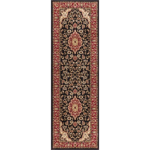 Well Woven Medallion Traditional Kashan Formal Medallion Floral Black Runner Rug - 2'3 x 7'3