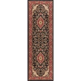 Medallion Traditional Kashan Formal Medallion Floral Black Runner Rug (2'3 x 7'3)