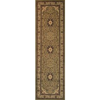 Medallion Traditional Persian Floral Border Oriental Green, Ivory, and Beige Runner Rug (2'3 x 7'3)