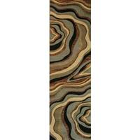 "Abstract Waves Multi-swirl Blue, Green, Beige, Ivory, Black, and Brown Geometric Runner Rug - 2'3"" x 7'3"""