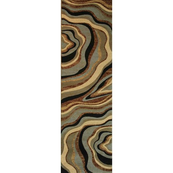 Shop Abstract Waves Multi Swirl Blue Green Beige Ivory
