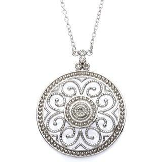 La Preciosa Sterling Silver Diamond Accent Circle Necklace