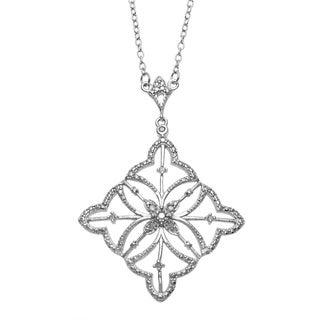 La Preciosa Sterling Silver 1/10ct TDW Diamond Necklace (I-J, I2-I3)