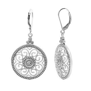 La Preciosa Sterling Silver Diamond Circle Earrings