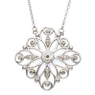 La Preciosa Sterling Silver 1/10ct TDW Diamond Floral Necklace (I-J, F-G)