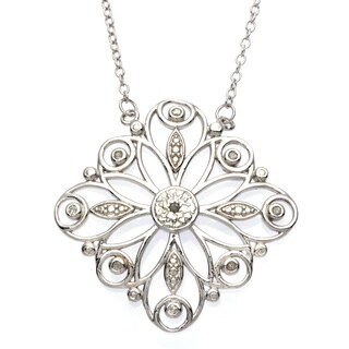 La Preciosa Sterling Silver 1/10ct TDW Diamond Floral Necklace