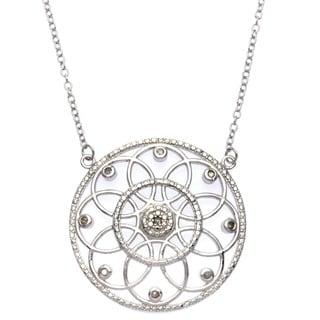 La Preciosa Sterling Silver 1/10ct TDW Diamond Circle Necklace (I-J, I2-I3)