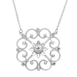 La Preciosa Sterling Silver 1/10ct TDW Diamond Floral Circle Necklace (I-J, I2-I3)