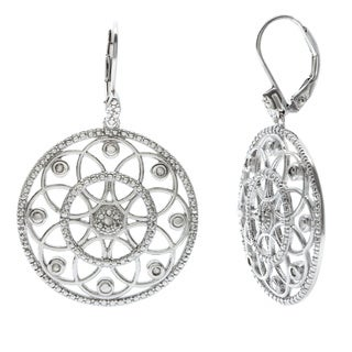 La Preciosa Sterling Silver 1/10ct TDW Diamond Circle Earrings (I-J, I2-I3)