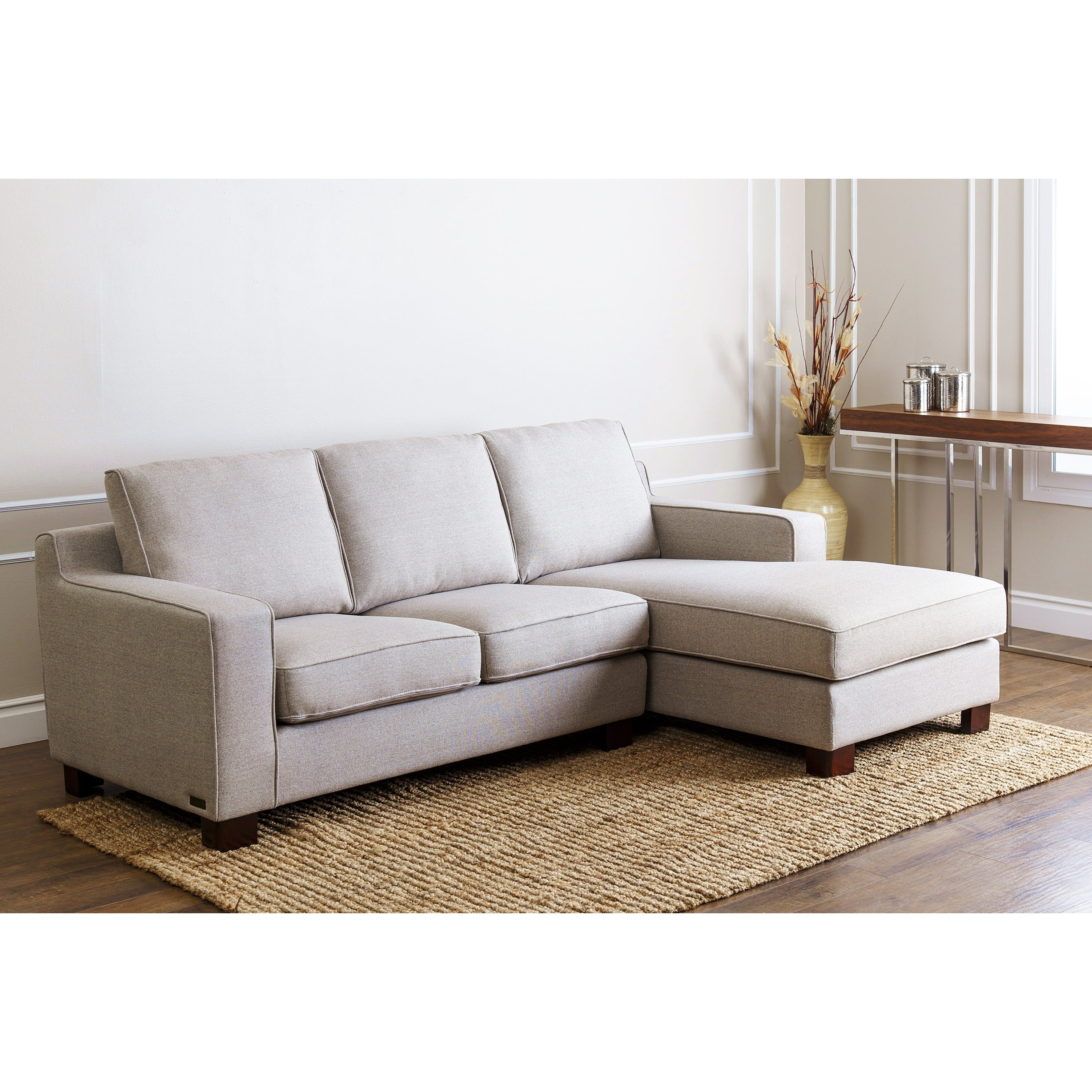 Abbyson Living Bella Cream Leather Sofa Sectional