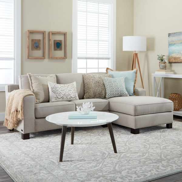 Sectional Sofa with Chaise in Light Grey