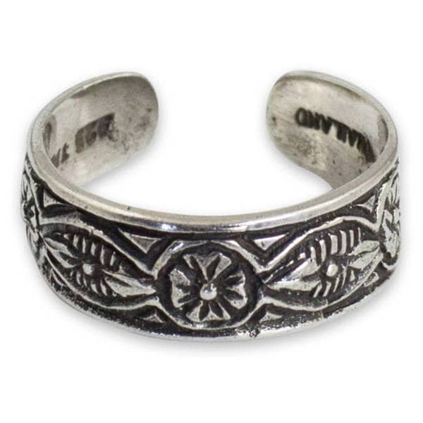 Handmade Sterling Silver 'Thai Flowers' Toe Ring (Thailand)