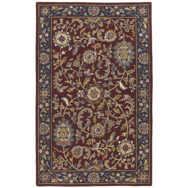 Hand-Tufted Kashan Navy Wool Rug (5' x 8')