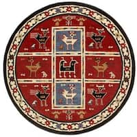 Hand-Tufted Red Tribal Round Wool Rug (6' x 6')