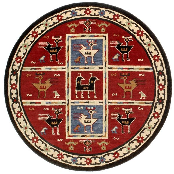 Hand Tufted Agra Red Gold Wool Rug 8 Round: Hand-Tufted Red Tribal Round Wool Rug (8' X 8')