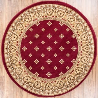 Shop Well Woven Dallas Transitional Border Red Round Area