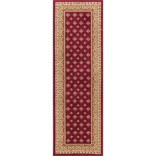 Dallas Formal European Floral Border Diamond Field Red, Beige, and Ivory Runner Rug (2'3 x 7'3)