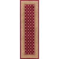 "Well Woven Dallas Formal European Floral Border Diamond Field Red, Beige, Ivory Runner Rug - 2'3"" x 7'3"""